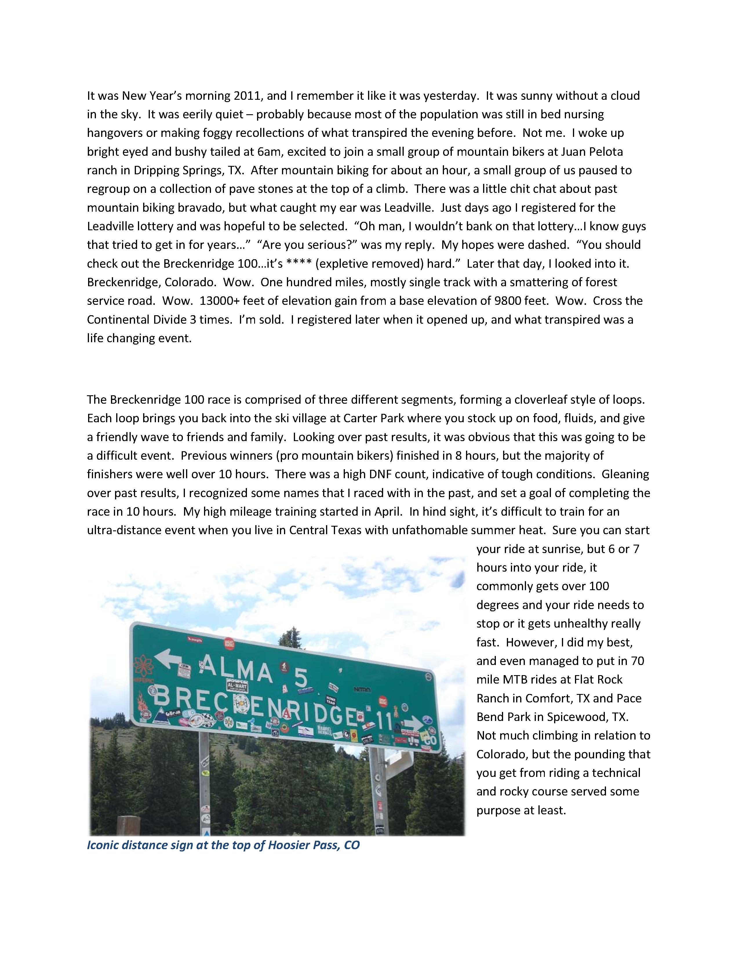 Breckenridge 100 Race Report